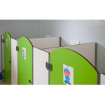 Kinder box with round doors